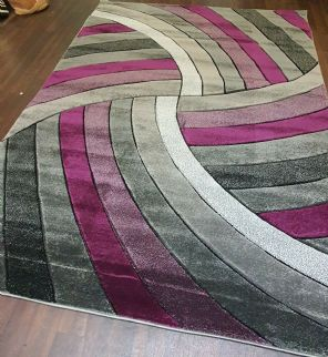 LARGE RUG 160CM X 220CM HAND CARVED RUGS TOP QUALITY NICE X DESIGN GREY/PURPLE